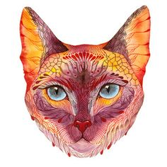 . Art And Illustration, Watercolor Illustration, Animal Illustrations, Tatoo Cat, Watercolor Art Face, Cat With Blue Eyes, Cat Art Print, Cat Face, Cat Eyes