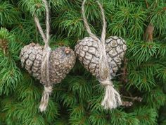 pine cone heart ornaments