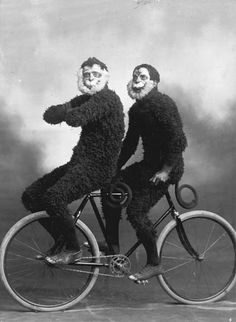 In case you wondered, This is what two members of the Invercargill Cycling Club riding a bicycle backwards in monkey costumes a hundred years ago looks like. Cycling Club members, by J Greig, ca. Funny Vintage Photos, Photo Vintage, Vintage Humor, Vintage Photographs, Funny Photos, Celine, Velo Tricycle, Black N White Images, Black And White
