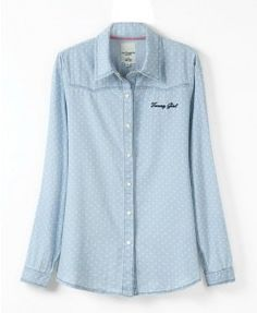 Point Print Long Sleeves Denim Blouse With Lapel Collar