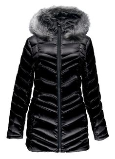 "Spyder - 'Women's Timeless Long Faux Fur Down Jacket' in Black + Fox Grey Fur. ""A night on the town or a stroll through ski country, the Timeless Down Jacket is designed for everyday adventures. The longer silhouette layers well with tights and updated quilting for 2016/17 lends a classic, slimming look. When temps drop, 700 fill Power Down warms through the baffled construction. The hood has a detachable faux fur trim and the collar is lined with brushed microfiber."