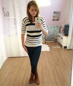 Crochet spring sweater. Blue and white. Free pattern. lente trui haken. Blauw wit. Gratis patroon.
