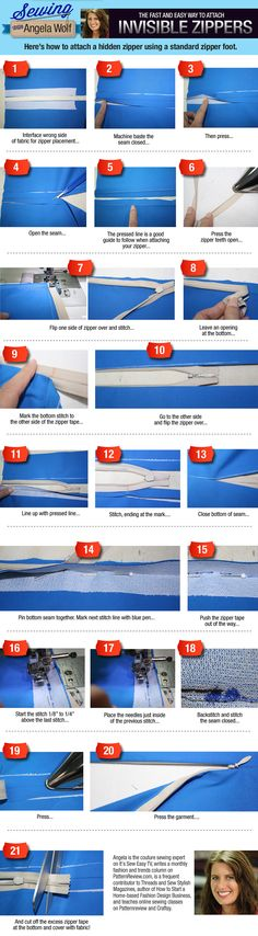 Cremallera invisible-Tuto fotos- How To Attach A Hidden Zipper With A Standard Zipper Foot Sewing Lessons, Sewing Class, Sewing Basics, Sewing For Beginners, Sewing Hacks, Sewing Tutorials, Sewing Projects, Sewing Patterns, Sewing Tips