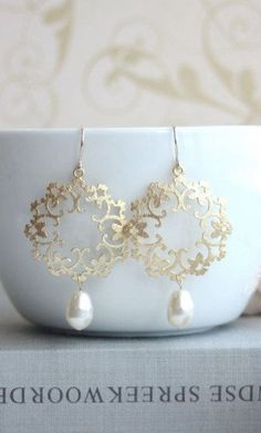 Gold Ivory Pearl Moroccan Boho Gypsy Filigree