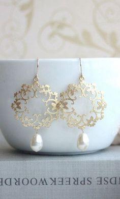 Gold Ivory Pearl Moroccan Boho Gypsy Filigree