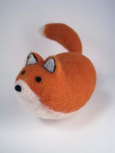 Jelly Bean Fox - Needle Felted Wool Sculpture