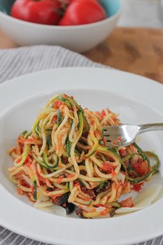 Zucchini Noodles with Puttanesca Sauce  From: hipfoodiemom.com