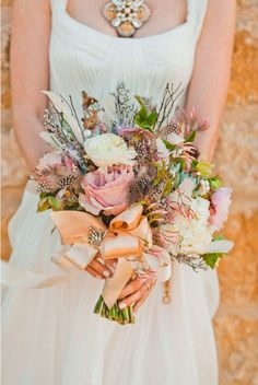 Santa Ynez Wedding Photo Shoot by Mark Brooke Photography + Rani Hoover Inspired Weddings & Events Feather Bouquet, Bridal Bouquet Fall, Fall Wedding Bouquets, Wedding Dresses, Bridal Bouquets, Flower Boquet, Mod Wedding, Wedding Bride, Floral Wedding