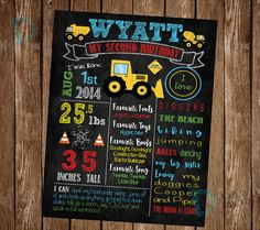 Construction Party- Construction Birthday Chalkboard - Bulldozer Birthday - Digger Birthday - Chalkboard Poster *Digital File Only* by DigitalArtDesignsByB on Etsy https://www.etsy.com/listing/470619543/construction-party-construction-birthday
