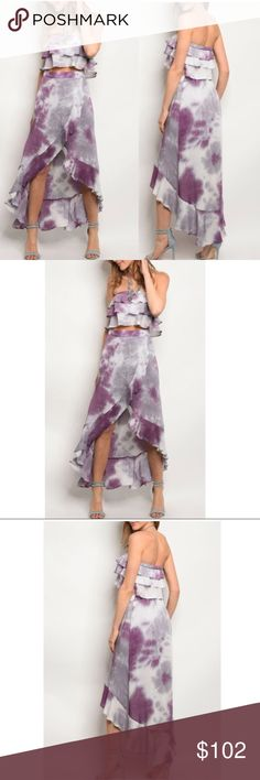 LAYLA • Tie Dye Ruffle Crop Top Hi Low Skirt Set How hot is this sexy 2 piece!!?? This amazing set is 100% Rayon. Features a ruffled crop top, and a high Low Wrap skirt.  Brand new Boutique item**** Dresses High Low