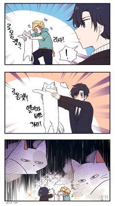 Battle of the longcats Jumin Han Mystic Messenger, Mystic Messenger Characters, Saeran, Ayato, Found Art, Cute Characters, Manga, Drawings, Funny