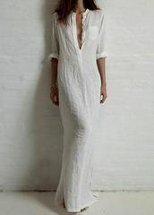 Vintage Cotton Maxi Dress - White / L