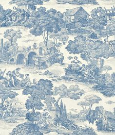 Waverly Nassau Vine Toile Porcelain Fabric - $12.95 | onlinefabricstore.net