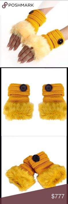 Winter Fingerless Gloves Warm luxury wool faux rabbit fur wrist fingerless gloves. Great for us ladies that are always Poshing away. Please check out other items in my closet. Price Firm Unless Bundled Accessories Gloves & Mittens