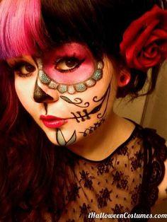 half face sugar skull makeup - Halloween Costumes 2013
