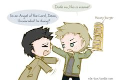 OHMYGOSH this is priceless!! Lol! XD Dean's like - trying to be a good friend here, and Cas is just not having itXD