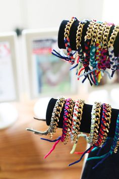 Ariel Gordon's silk bracelets—a throwback to mandatory arts & crafts hour at sleepaway camp.