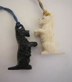 1940s Celluloid Charms Black & White Whisky Dogs Scottish + West Highland Terriers @Natalie Jost Jost Young