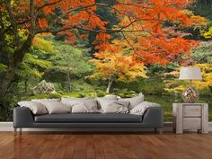 Autumn Woodland Colours wall mural room setting