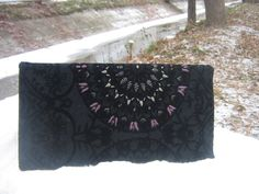 Hand-embroidered Evening Bag,Handmade,Black Clutch,womens gift by AgnessaCouture on Etsy