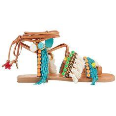Elina Linardaki Women's Mojitos Pom/Fringe Gladiator Leather Sandals ($225) ❤ liked on Polyvore featuring shoes, sandals, sapatos, multi, fringe sandals, lace up shoes, lace up sandals, laced up gladiator sandals and leather shoes