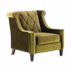 Barrister Chair In Green Velvet With Green Piping by Armen Living
