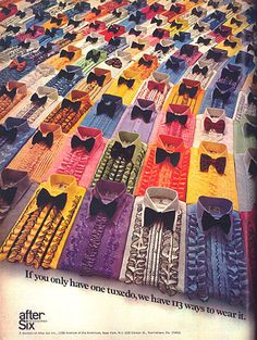 After Six, 1970s colourful sea of ruffled tuxedo shirts
