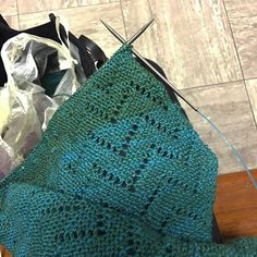 HiyaHiya Sharp Steel DPNs We love this picture which from @insomniacknitter ! Finished the first lace decrease repeat on my #misoshawl while waiting to see the psychiatrist. It's been 2 hours. I wonder how much longer I'll have to wait.  --- @insomniacknitter (Instagram Name) said.