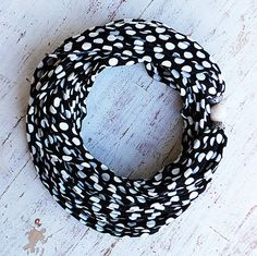 Black and white polka dots scarf necklace with a faceted natural stone by Sashetta