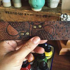 Leather cuff. Owls. Brass studs.