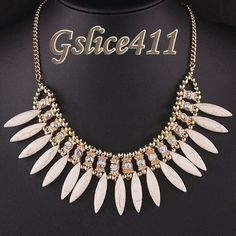 White gold& rhinestone tribal statement necklace Babe new Jewelry Necklaces