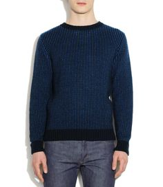 Merino-angora wool crew neck pullover - Navy blue chiné - A.P.C. MEN