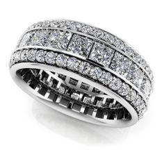 755dad8d87b Three Row Princess and Round Eternity Band Eternity Ring Diamond
