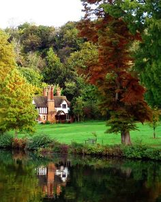 Reflection in the Thames river at Cliveden Estate, Taplow, Buckinghamshire, England (by Wild snapper). Images Lindas, Cottages Anglais, Rio Tamesis, Beautiful World, Beautiful Places, Amazing Places, Nature Landscape, England And Scotland, England Uk