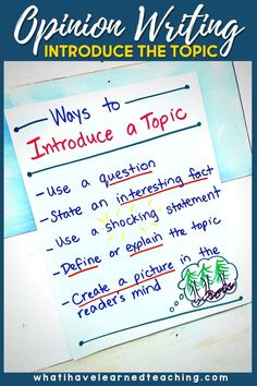 Teach students to introduce their topic with opinion writing with these simple teaching ideas. Use familiar books and writing samples to explore how others introduce the topic. Use sentence frames to scaffold students' writing. Give students a lot of practice with writing introductions. These are great teaching ideas after students have mastered stating an opinion and supplying reasons.