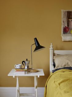 mustard and grey bedroom gray and yellow bedroom mustard yellow and grey decor inspirationen Gelb Mustard And Grey Bedroom, Mustard Yellow Bedrooms, Bedroom Yellow, Light Yellow Walls, Yellow Accent Walls, Grey Walls, Light Blue, Mustard Yellow Paints, Mellow Yellow