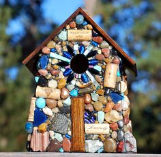 Large Outdoor Birdhouse Cobalt Blue Glass and Mosaic Stones for Wine Lovers wine corks Rustic birdhouse Made in Oregon Winter Birds Wrens by WinestoneBirdhouses. Explore more products on http://WinestoneBirdhouses.etsy.com