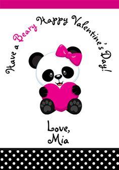 Valentine Cards Panda Valentine cards Kids by TheButterflyPress