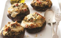 These roasted mushrooms, filled with quinoa, vegetables and cheese, make a tasty starter or a nutritious meat-free main course for vegetarians.