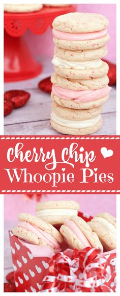 Super Easy 4 Ingredient Cherry Chip Cookies Cherry Chip Cookies for Valentine's Day-These cookies are perfect for Valentine's day with the light pink sprinkles and frosting. They taste amazing and are so easy to make! Cupcakes, Cake Mix Cookies, Sandwich Cookies, Chip Cookies, Cupcake Cakes, Shortbread Cookies, Cookie Desserts, Fun Desserts, Cookie Recipes