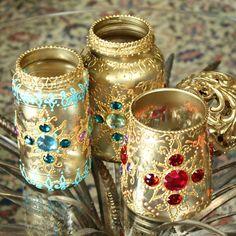 Recycled jars make beautiful boho bejeweled jar lanterns! Tea Light Lanterns, Jar Lanterns, Gold Lanterns, Glass Bottle Crafts, Bottle Art, Bottles And Jars, Glass Bottles, Recycled Jars, Mason Jar Crafts