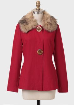 Reminds me of the vintage coat I saw antiquing in Amish Co. Size M  Exploring The City Faux Fur Trim Coat at #Ruche @Mimi ♥♥