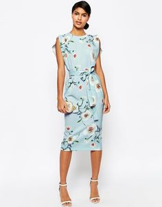 Image 1 of ASOS Belted Midi Dress with Split Cap Sleeve in Occasion Floral