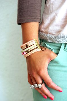 Pastel Multi Bracelet Friendship bracelet by makunaima on Etsy, $15.90