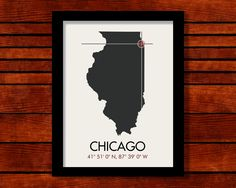 Chicago Illinois Latitude Longitude Map Art City Print 11 x 14. $25.00, via Etsy.
