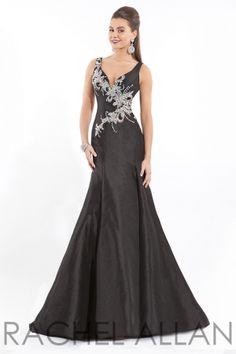 V-neck taffeta gown. Sheer back. Call 1-815-782-8877 to order!