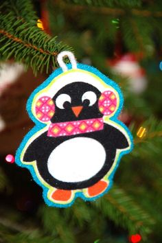 penguin ornament from felt and fabric