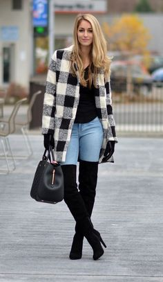 High Heels Outfit, High Heel Boots, Casual Skirt Outfits, Cute Outfits, Bootfahren Outfit, Look Fashion, Fashion Outfits, Bota Over, Over The Knee Boot Outfit