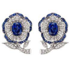 Sapphire & Diamond Flowerhead Earrings