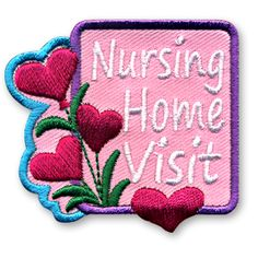 2 x 2 1/4 Inches **IRON-ON backing for easy & Snappy application** Planning a nursing home visit with your youth group or troop is a great way serve your local community and educate the children about elderly care and respect. Recognize those who attended your event with our Nursing Home Visit fun patch. http://www.snappylogos.com/Nursing-Home-Visit-Fun-Patch/productinfo/3644/